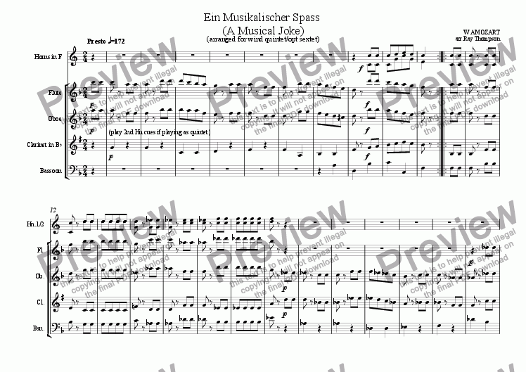 page one of Ein Musikalischer Spass (A Musical Joke) Movt 4: Presto