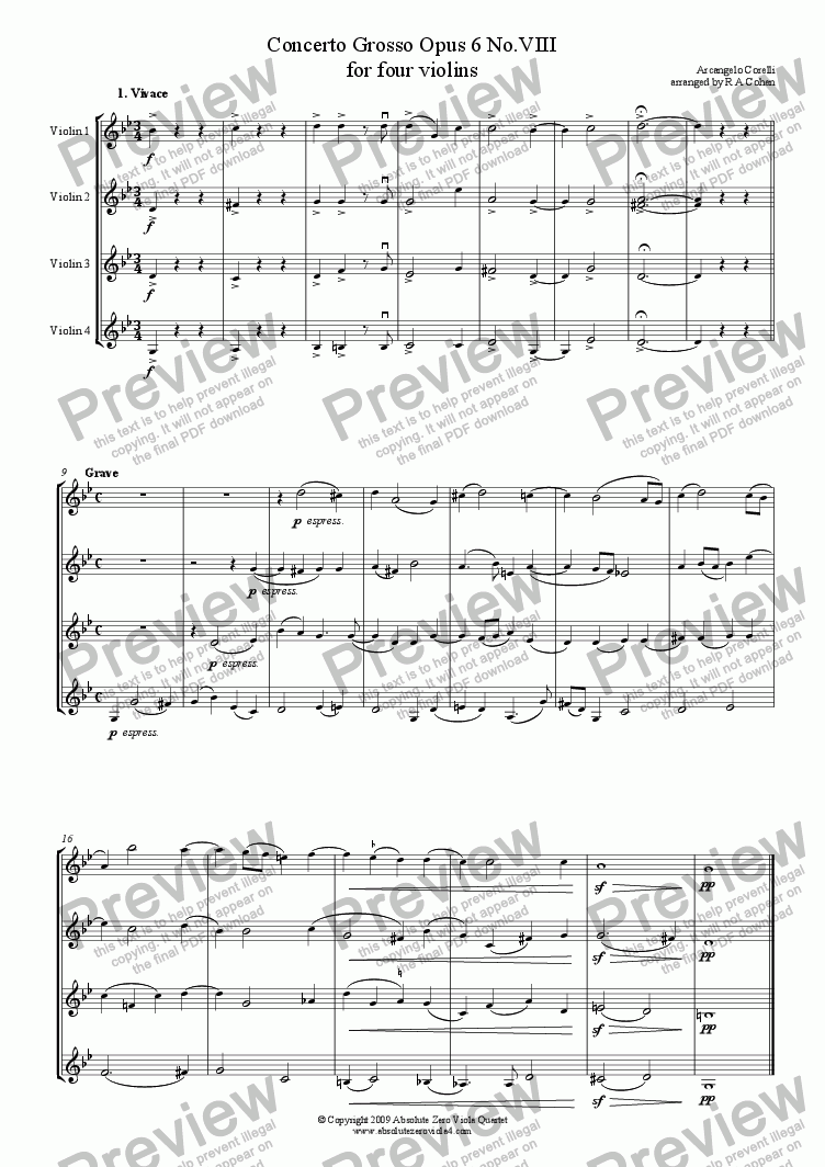 page one of Corelli - CONCERTO GROSSO Op.6 No.8 - for four violins