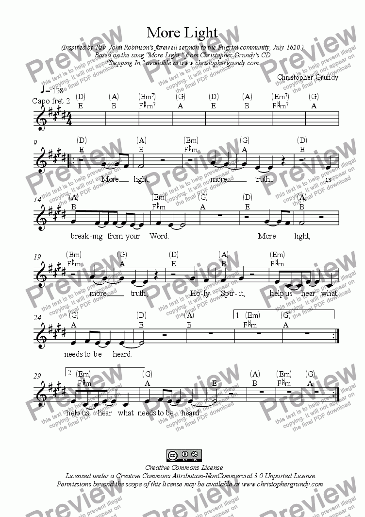 page one of More Light - lead sheet