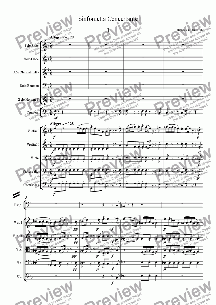 page one of Sinfonietta Concertante - Movt 1
