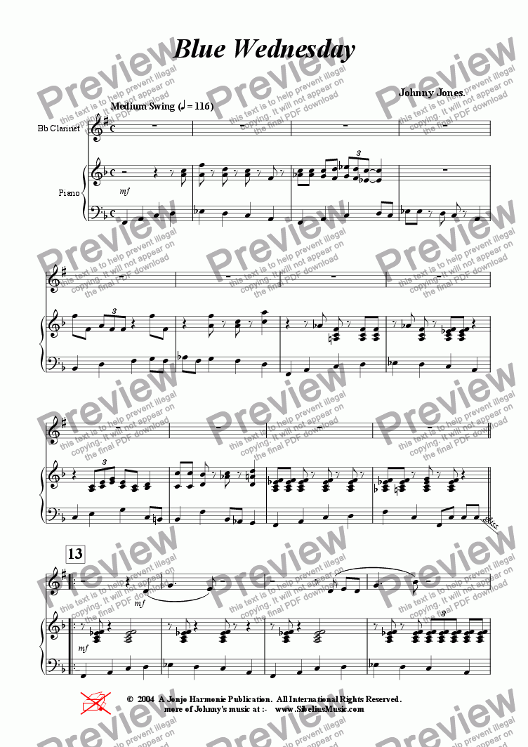 page one of Blue Wednesday  ( Clarinet and Piano )