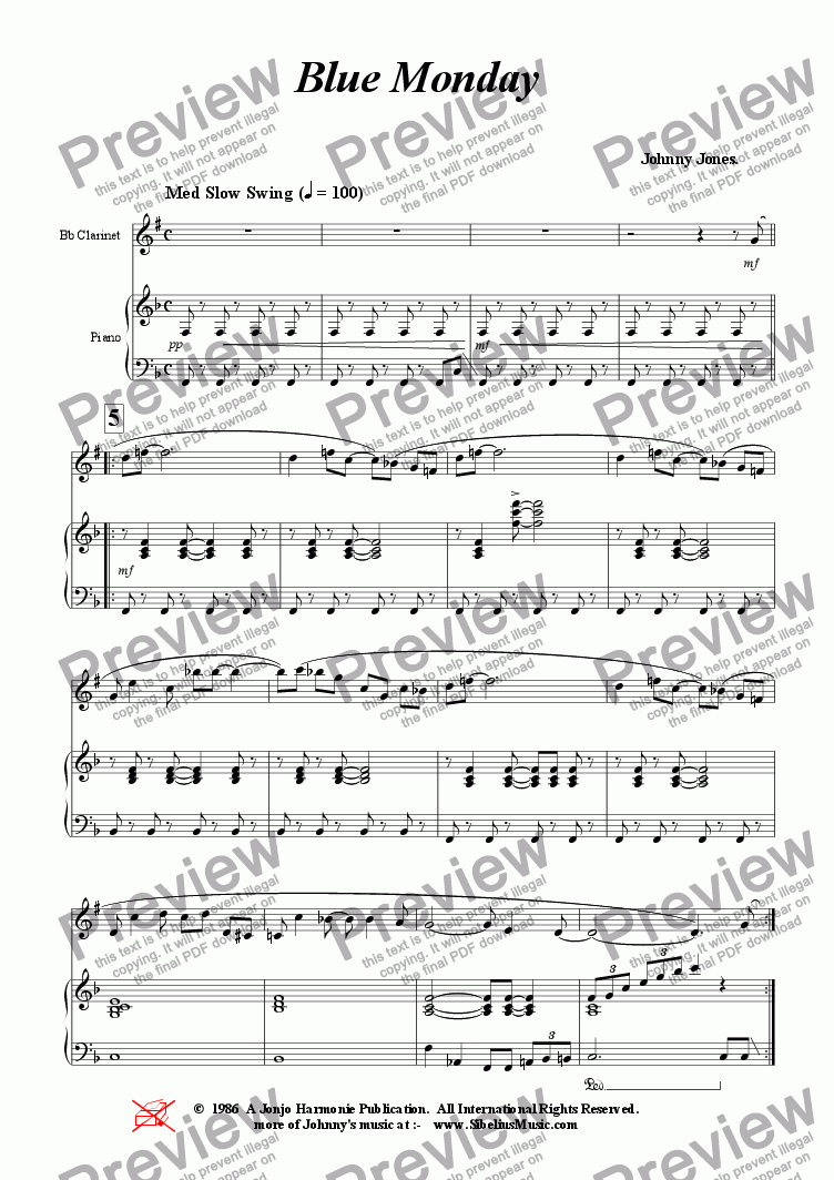 page one of Blue Monday  ( Clarinet and Piano )