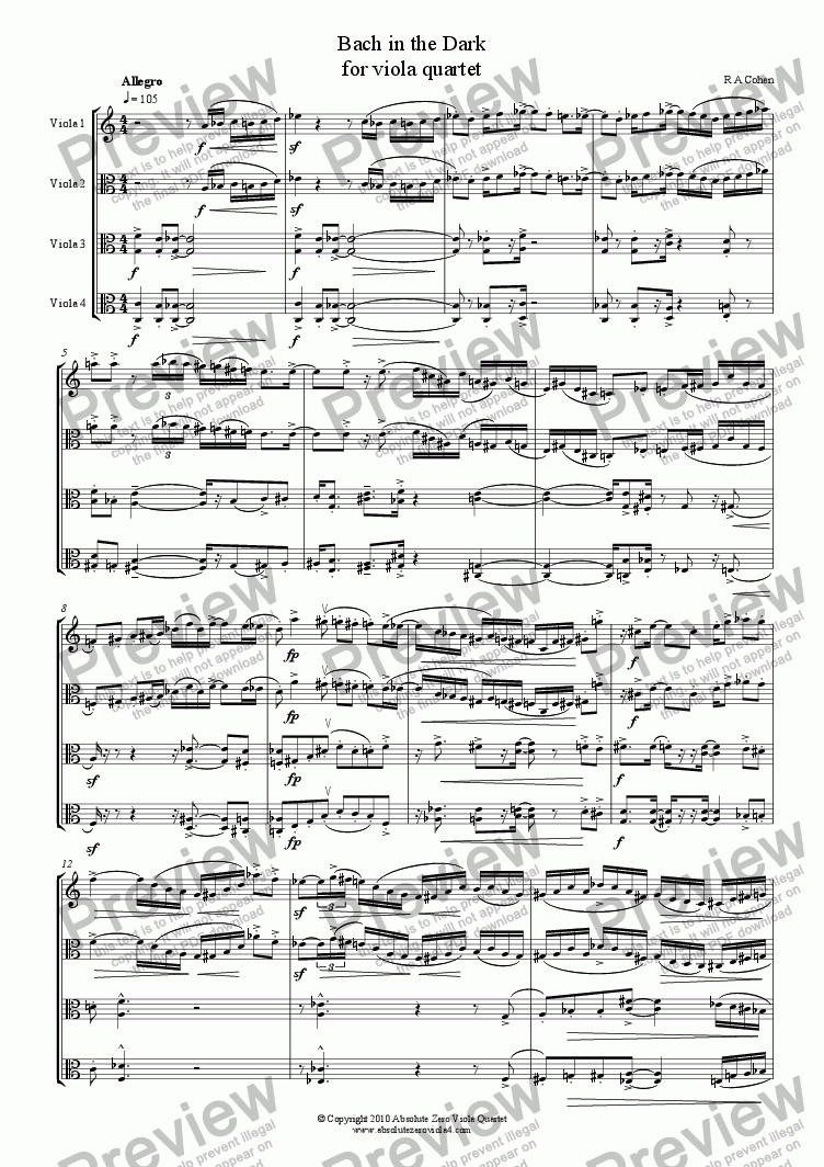 page one of BACH IN THE DARK - for viola quartet