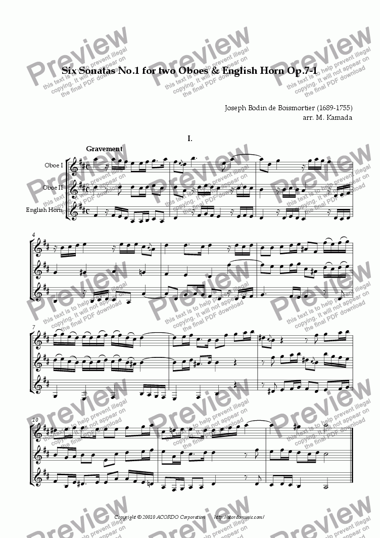 page one of Six Sonatas No.1 for two Oboes & English Horn Op.7-1