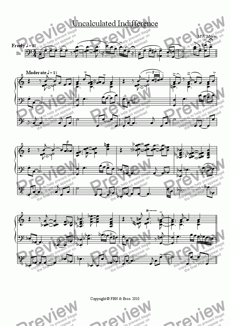 Uncalculated Indifference Download Sheet Music Pdf File