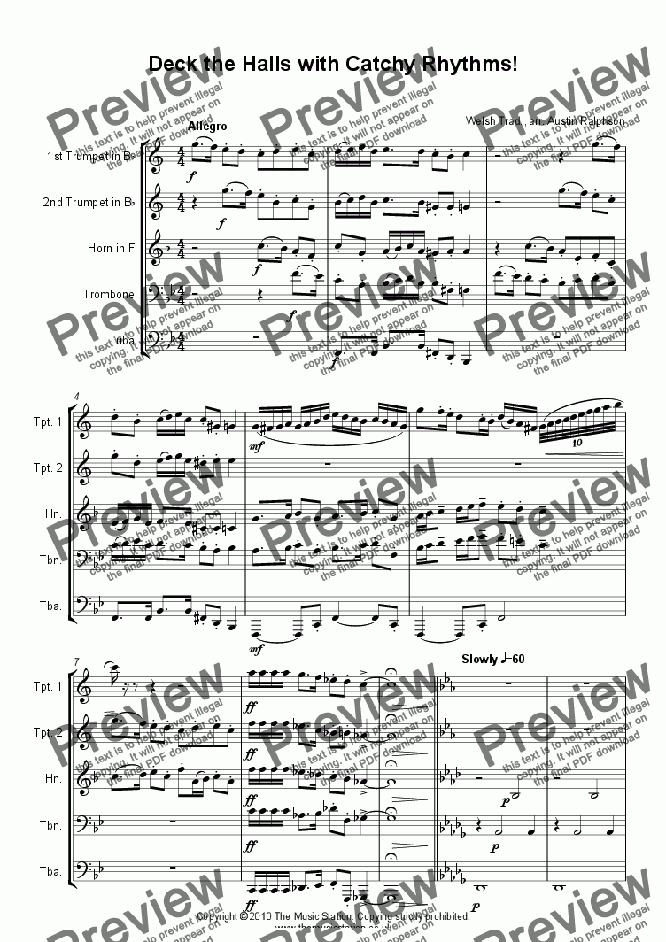 page one of Deck The Halls With Catchy Rhythms! - brass quintet