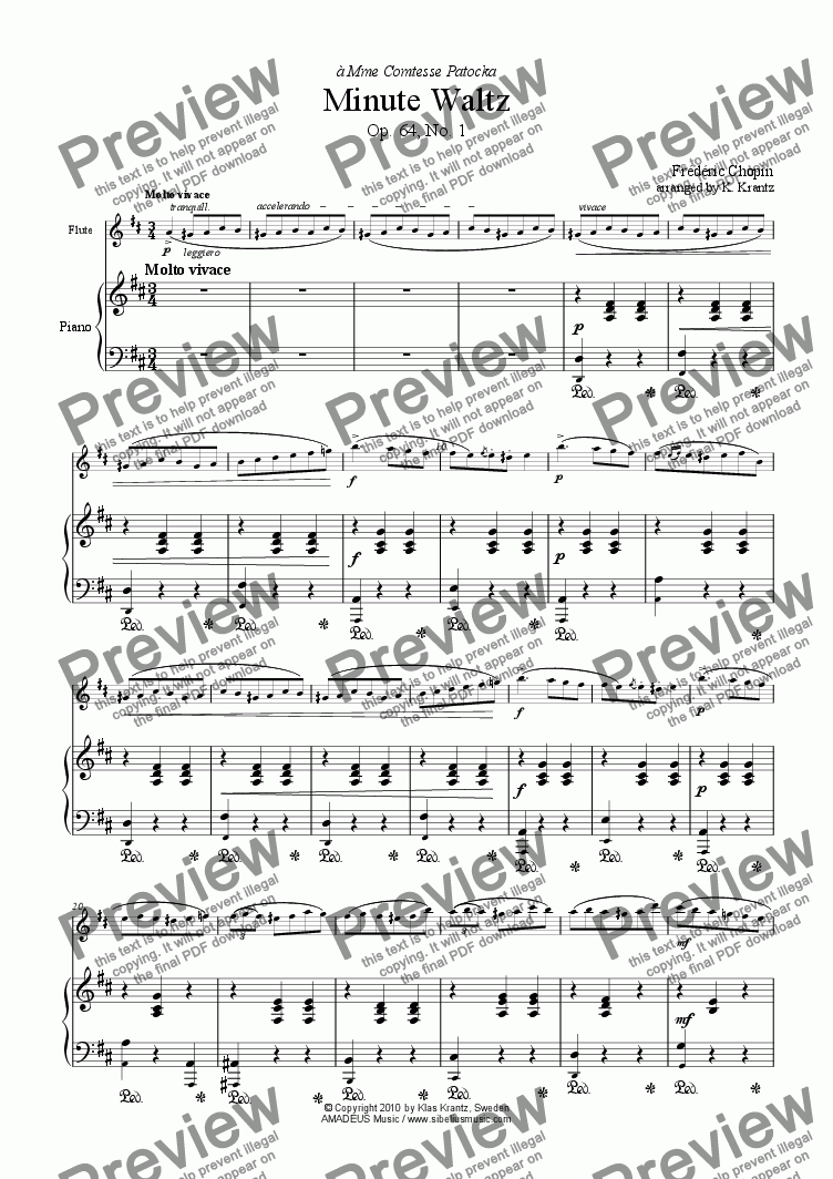 page one of Minute Waltz Op. 64, No. 1 for flute and easy piano