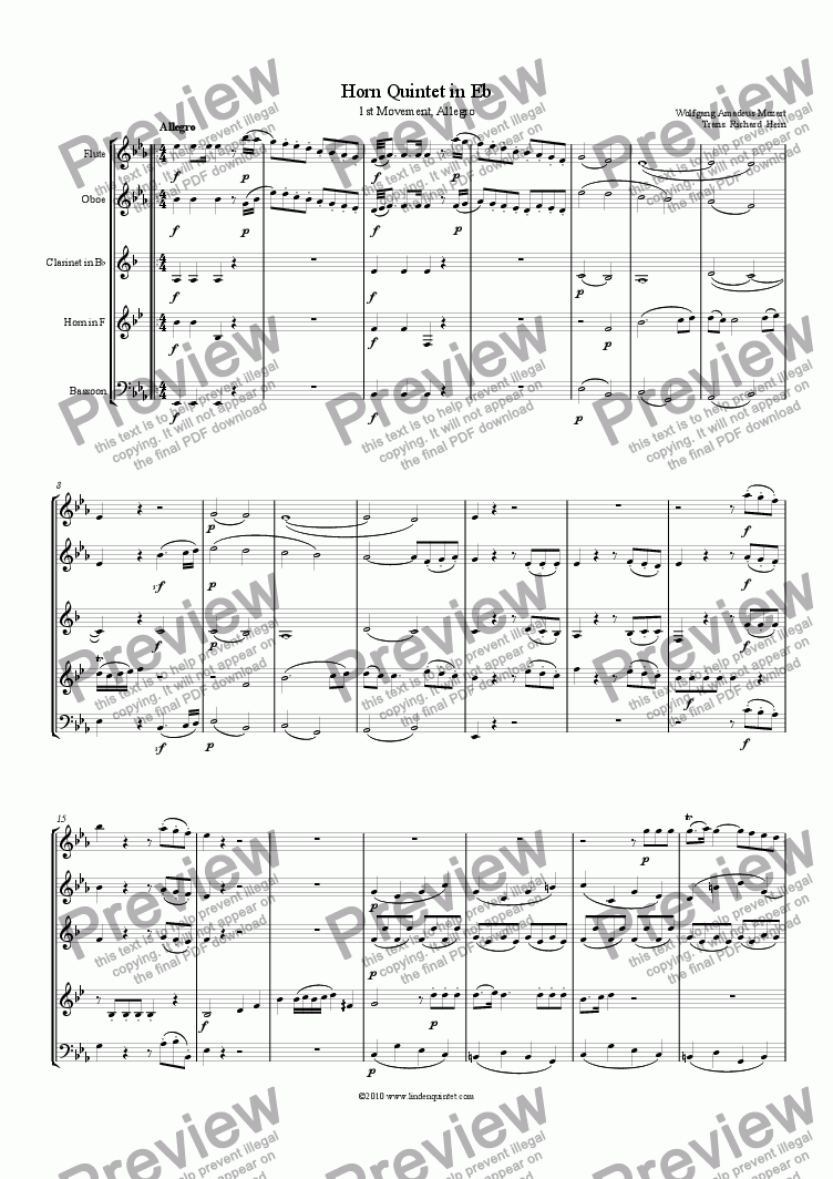 page one of Mozart - Horn Quintet KV 407 Movement 1 Allegro