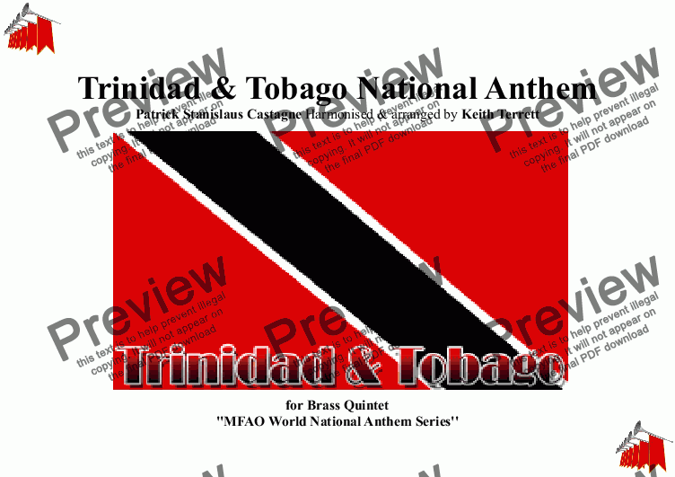 page one of Trinidadian & Tobagonian National Anthem for Brass Quintet