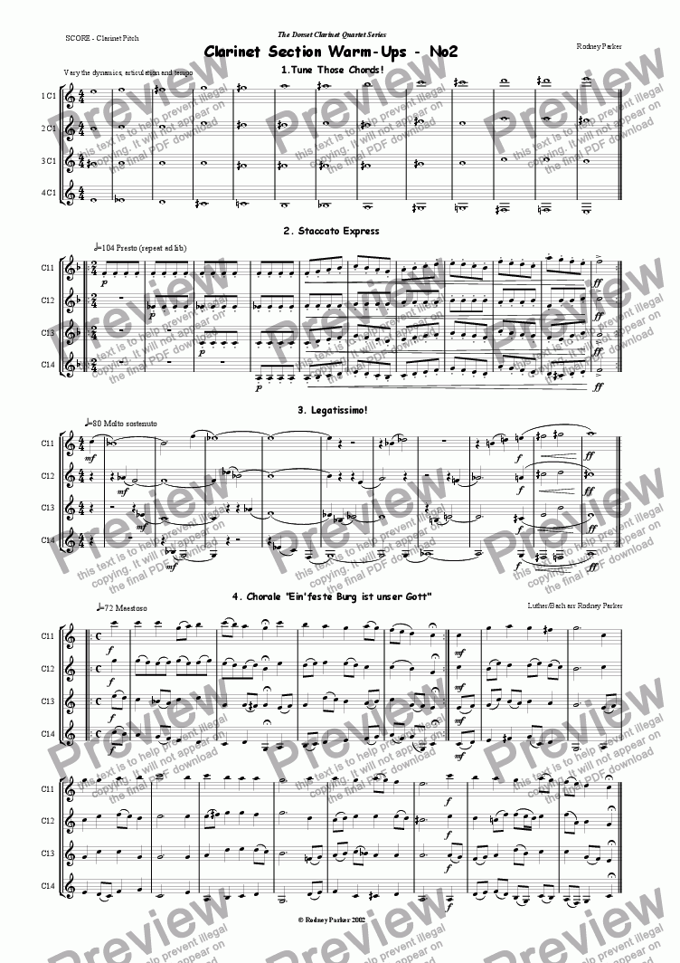 page one of Clarinet Section Warm ups No2