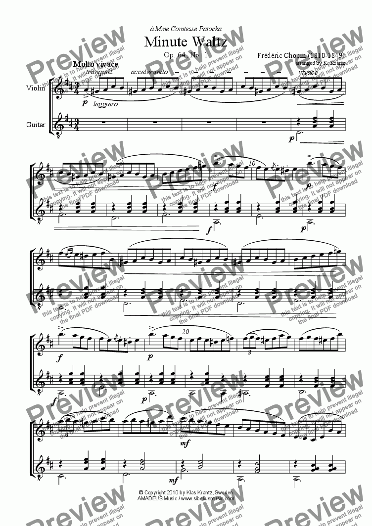 page one of Minute Waltz Op. 64, No. 1 for violin and guitar