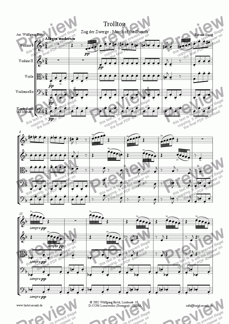 page one of Trolltog. March of the Dwarfs (Zug der Zwerge) (For Strings)