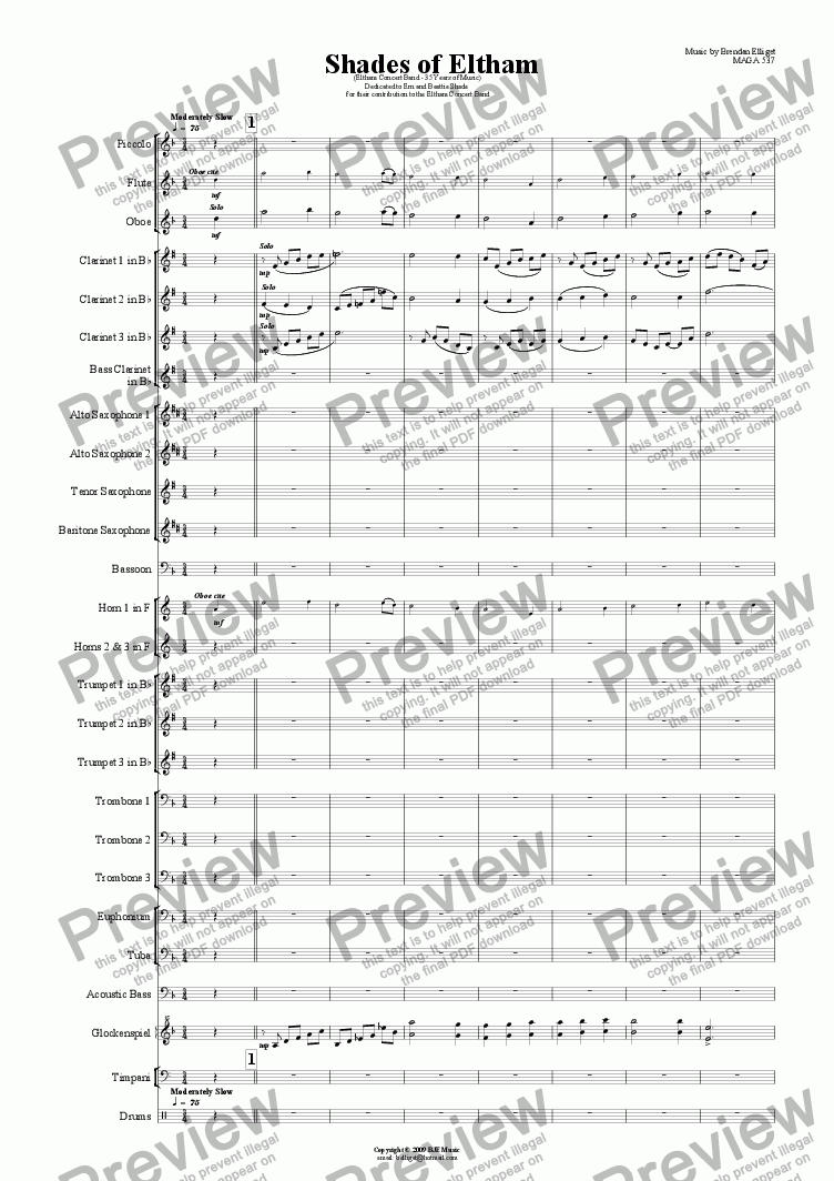 page one of Shades of Eltham - Concert Band