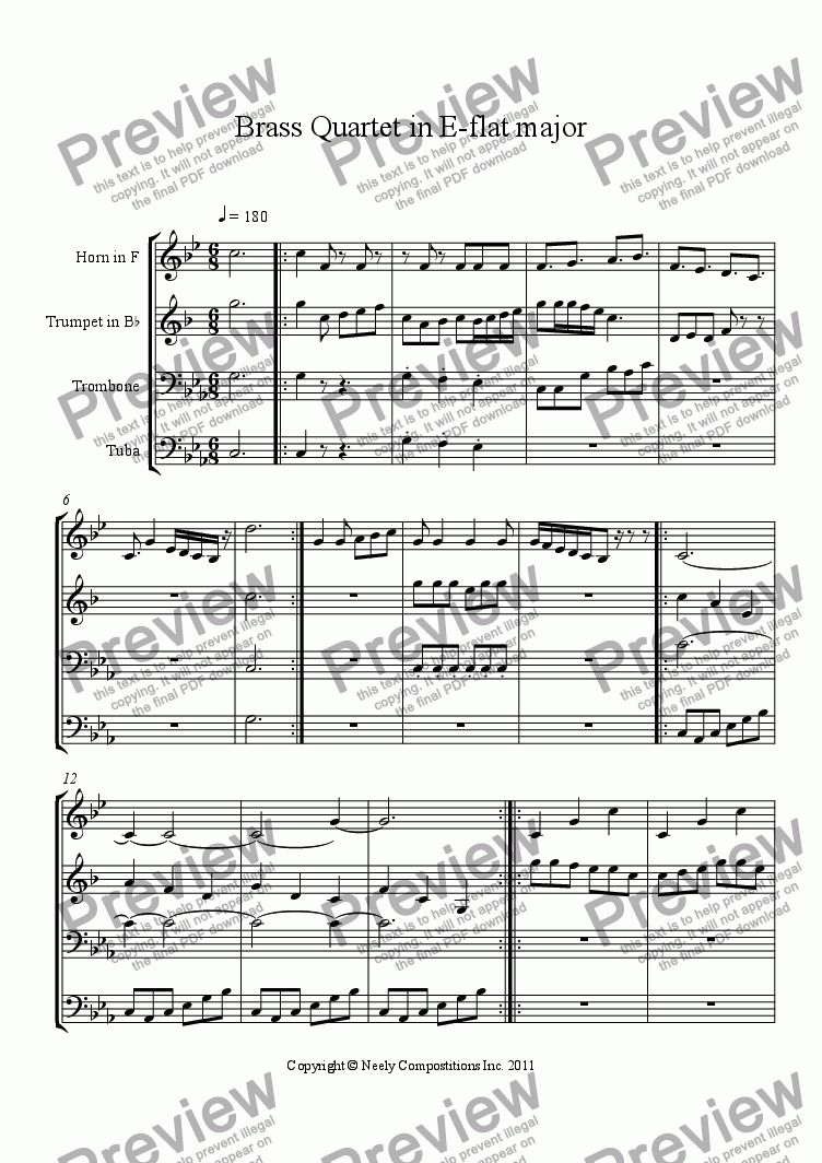 page one of An Epic Journey (Brass Quartet in E-flat Major)