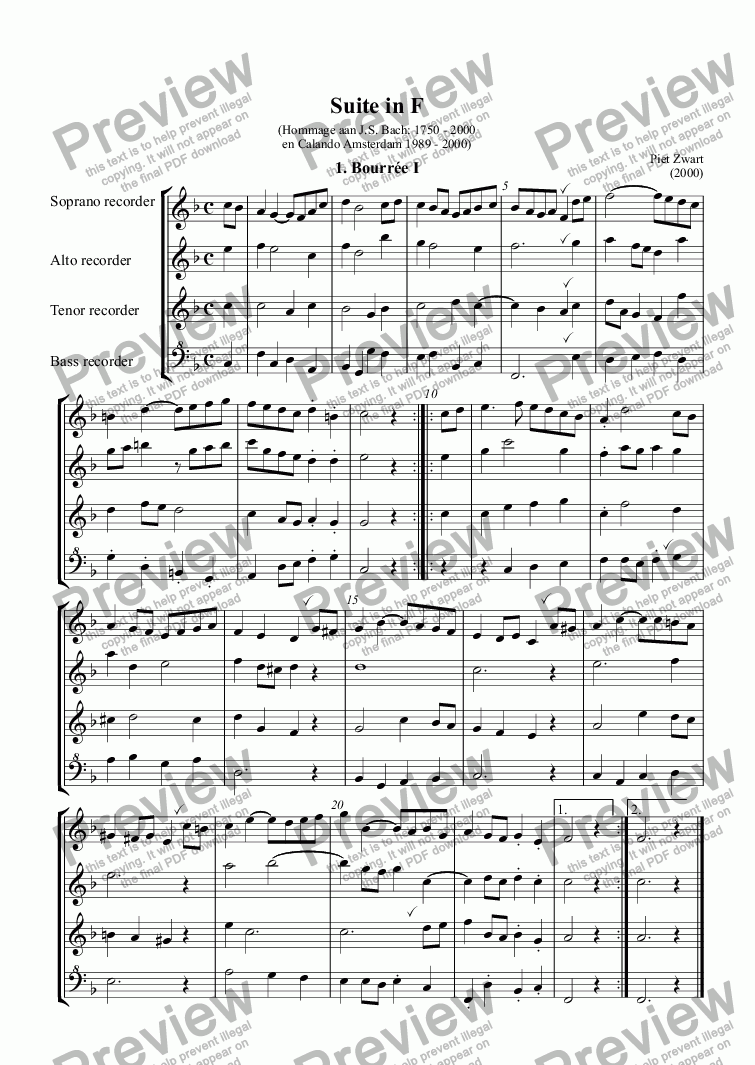 page one of Suite F major (Zwart)
