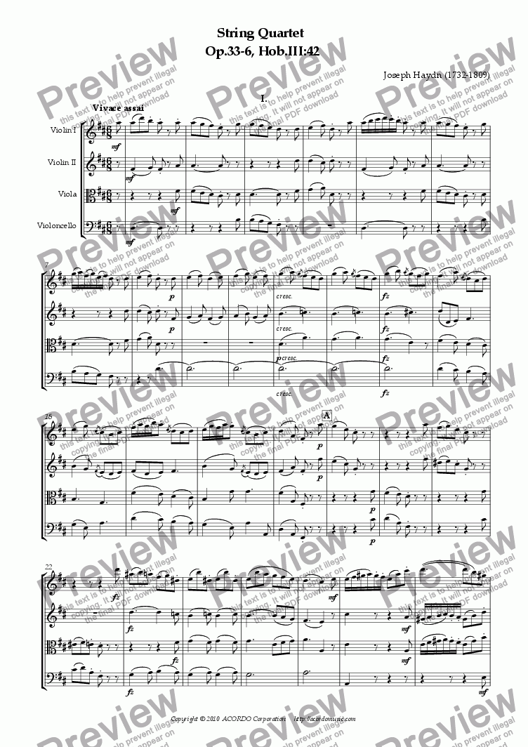 "page one of String Quartet in D Op.33 ""Russian"" No.6 Hob.III:42"