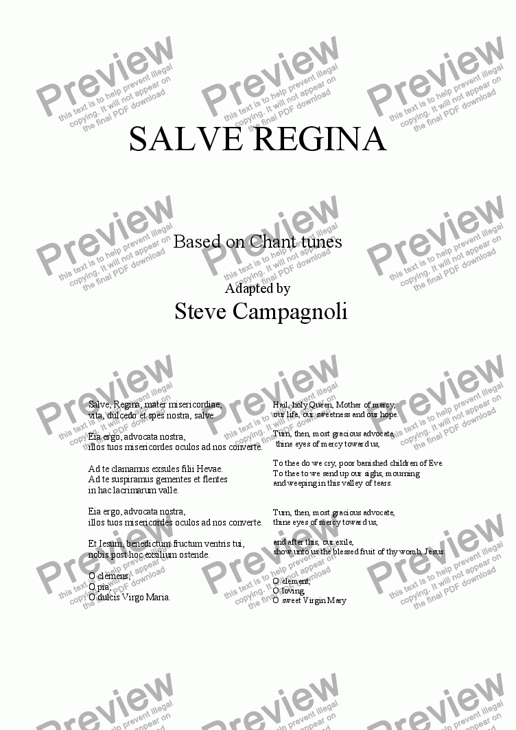page one of SALVE REGINA