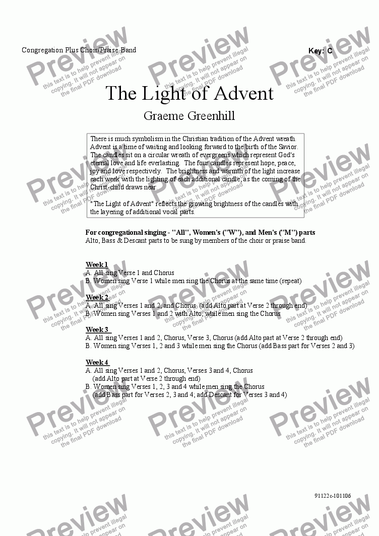 page one of The Light of Advent - Congregation Plus