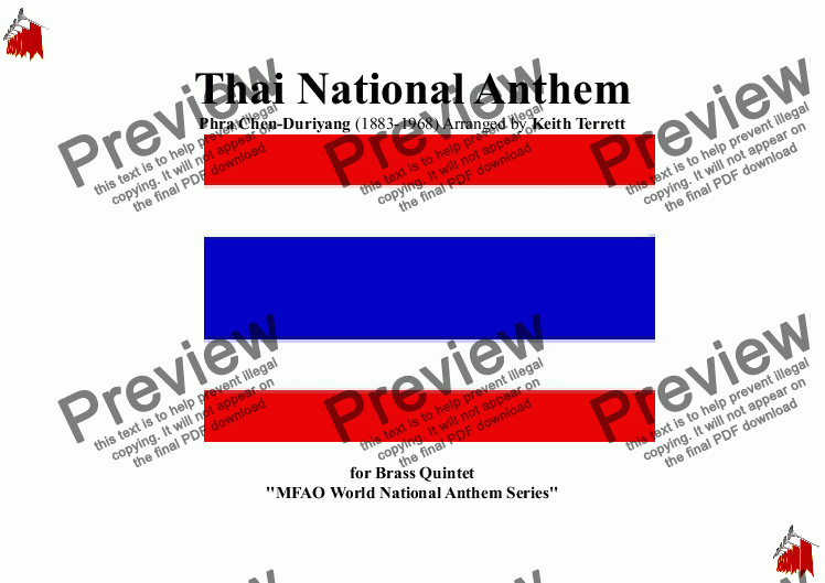 page one of Thai National Anthem for Brass Quintet (MFAO World National Anthem Series)