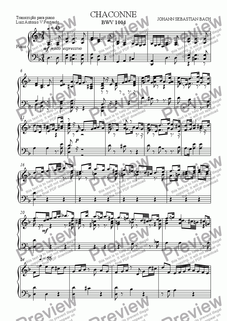 page one of Chaconne BWV 1004 Piano Transcription