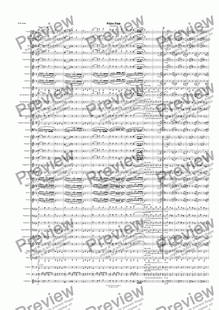 page one of White Pine (Large Wind Band)