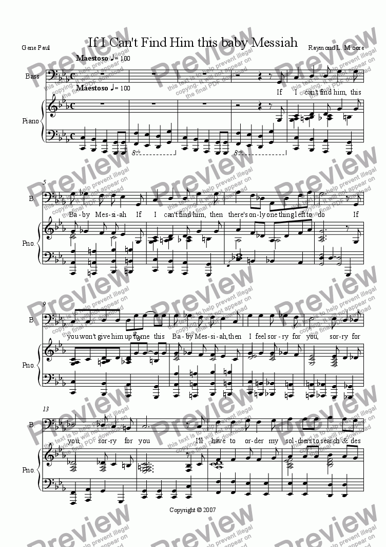 "page one of Herod's song from ""Messiah's Here"""
