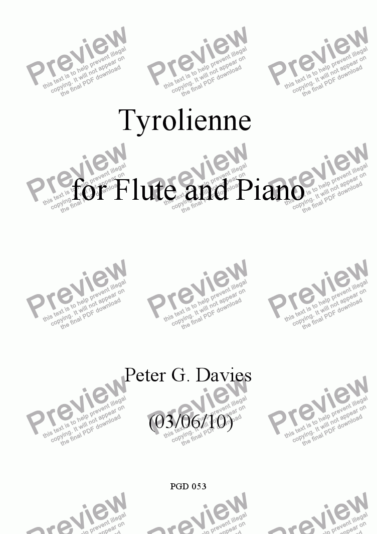 page one of Tyrolienne for Flute and Piano