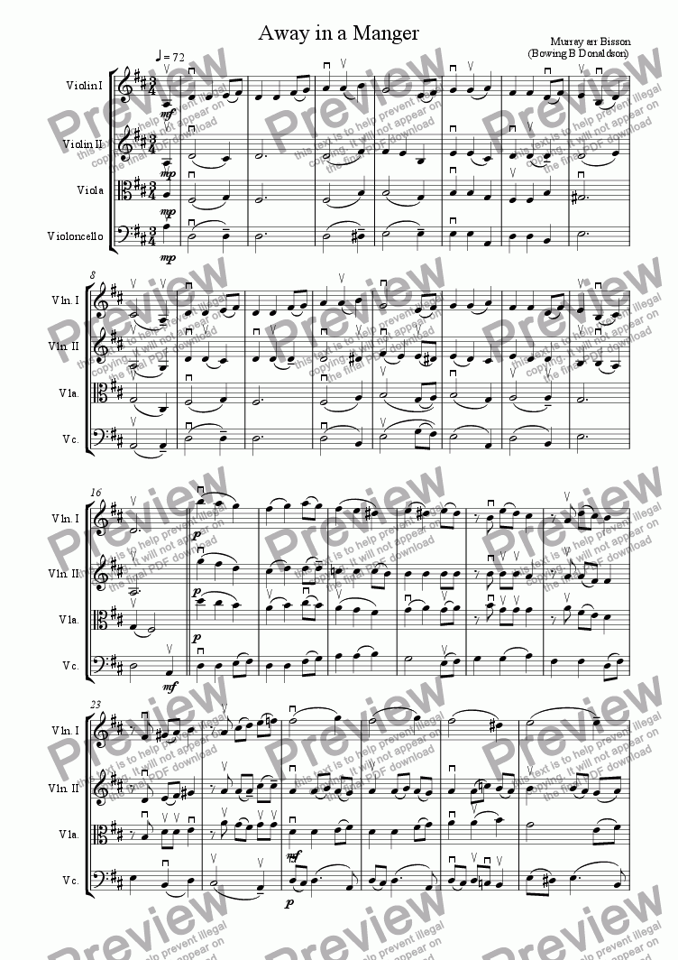 page one of Away in a Manger String Quartet