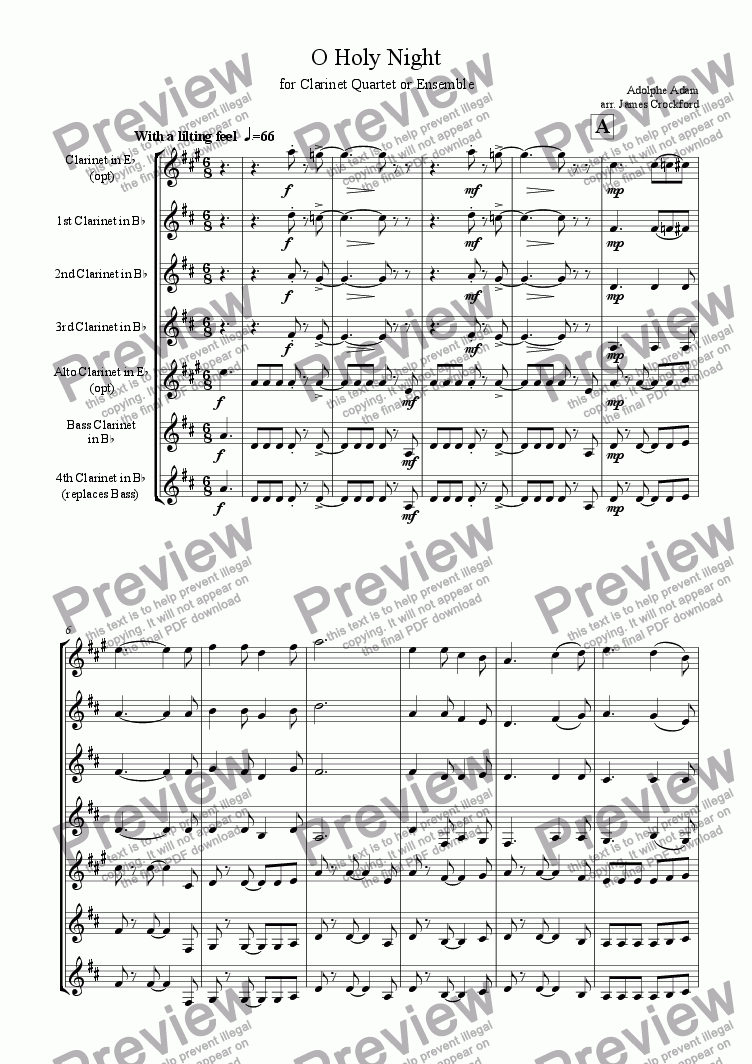 page one of O Holy Night (for Clarinet Quartet or Ensemble)