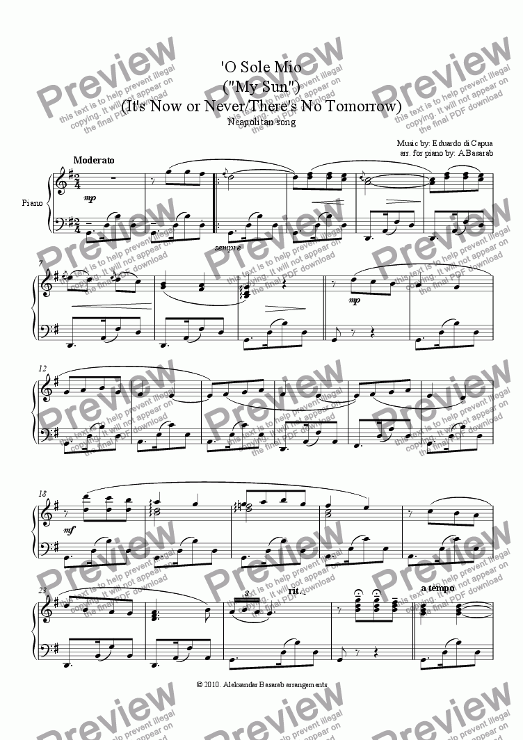 "page one of Capua - O Sole Mio  (""My Sun""), arr. for piano solo"