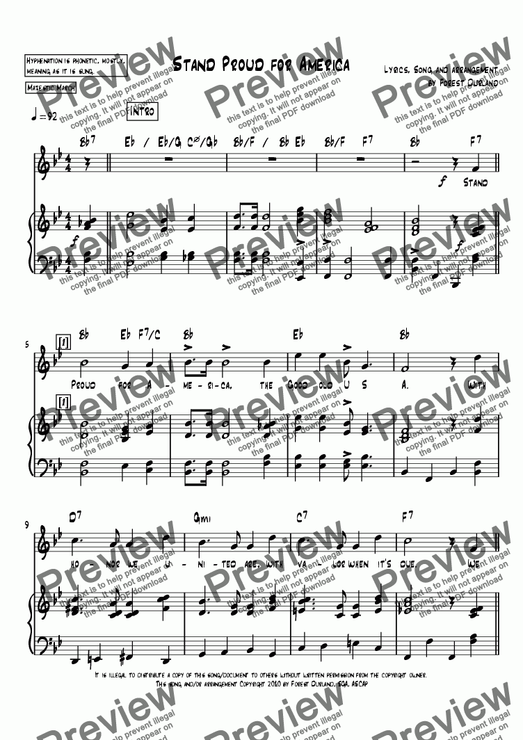 page one of Stand Proud for America, sheet music in B flat