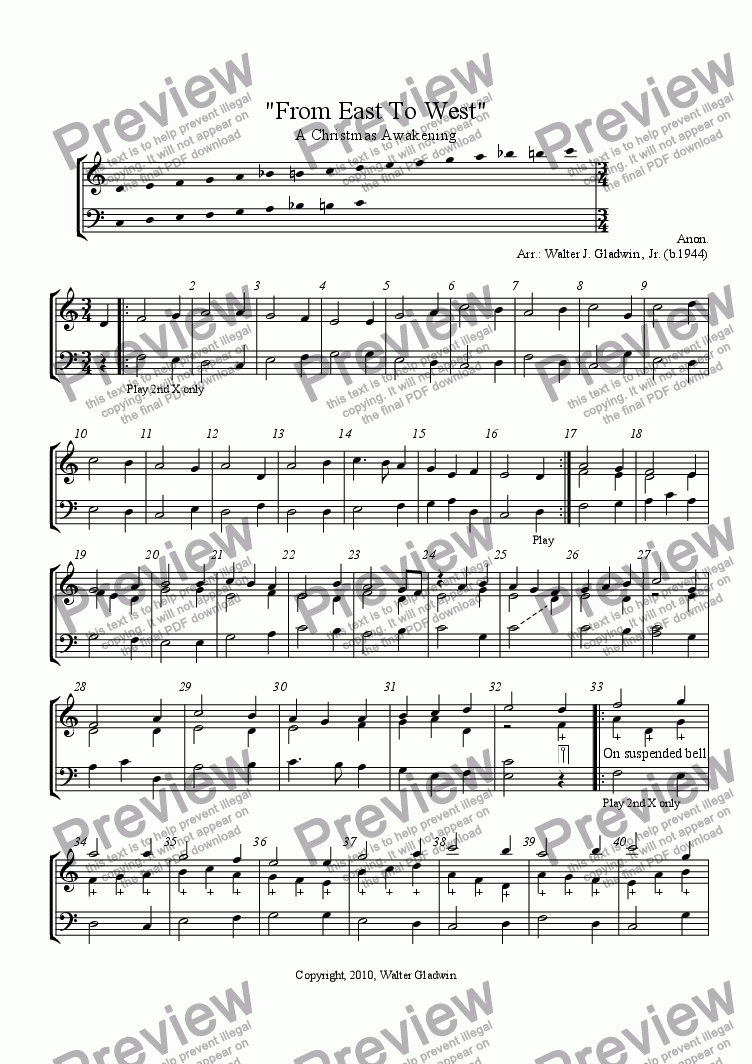 "page one of ""From East To West"": A Christmas Awakening (Bell Choir)"
