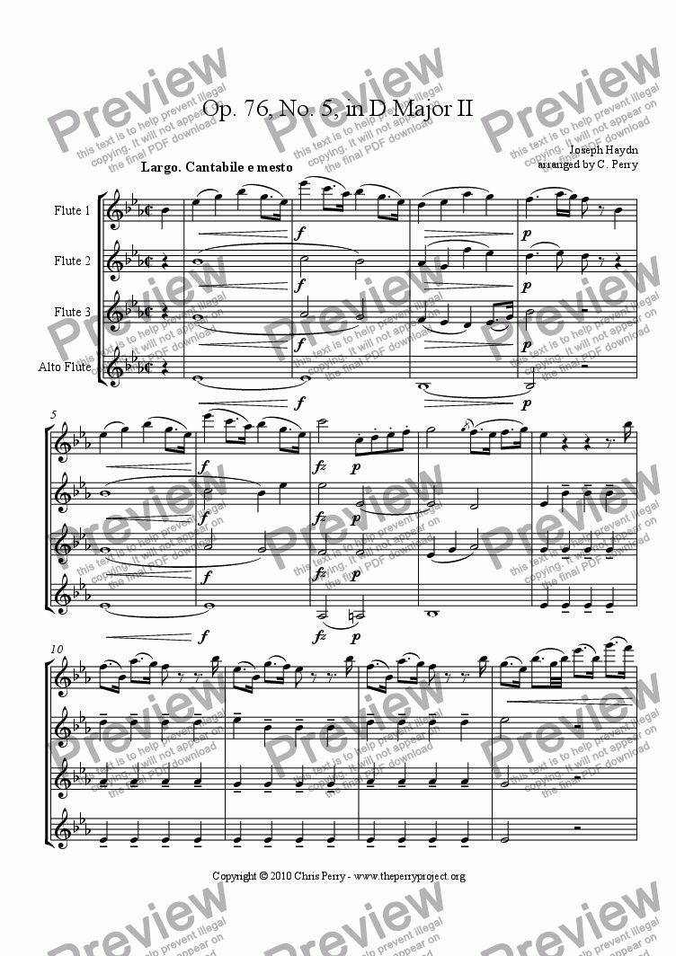page one of Quartet Op. 76, No. 5 in D Major - Movement II