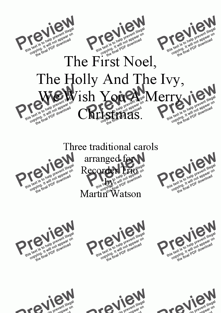 page one of The First Noel, The Holly And The Ivy, We Wish You A Merry Christmas arranged for Recorder Trio.