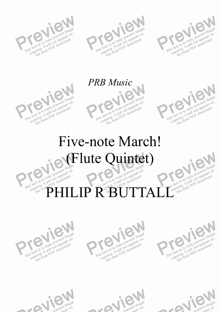 page one of Five-note March! (Flute Quintet)