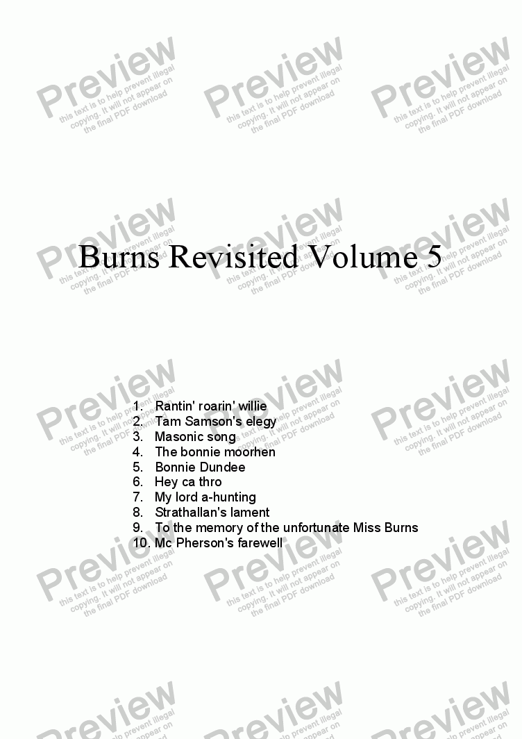 page one of Burns Revisited Volume 5