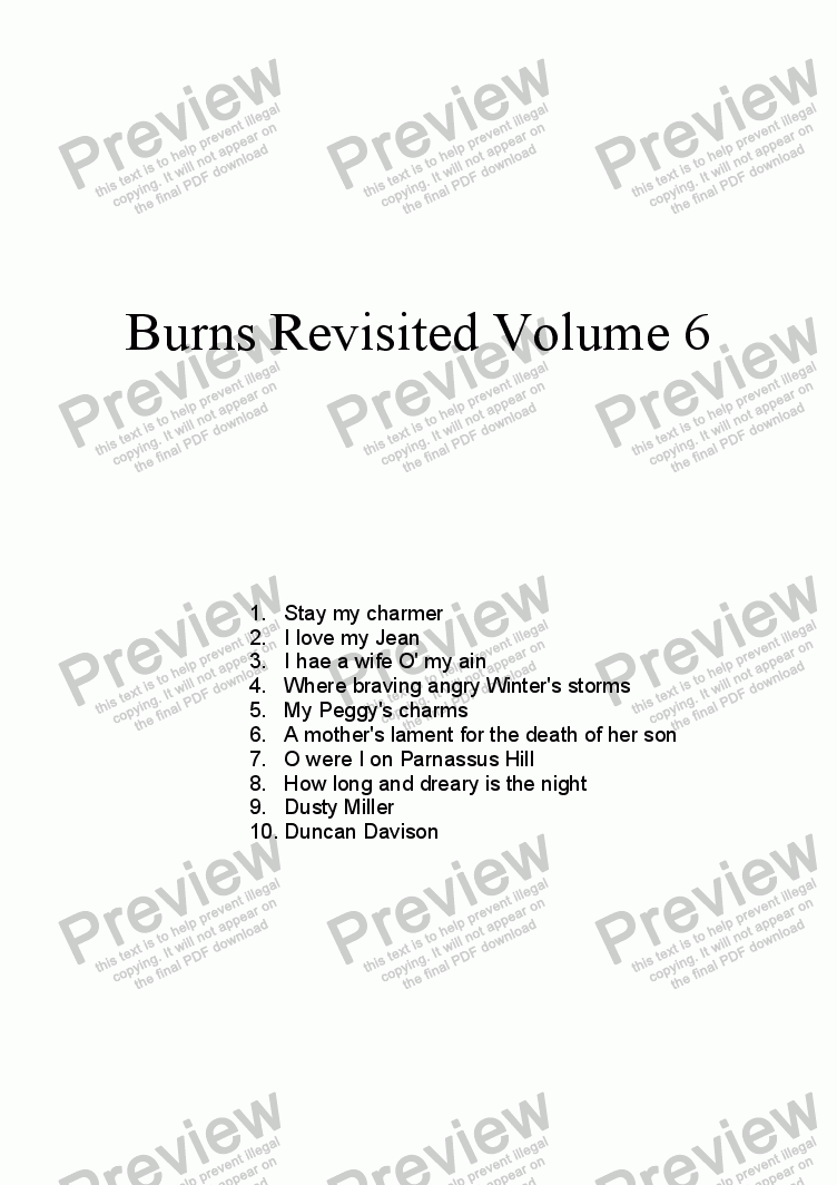 page one of Burns Revisited Volume 6