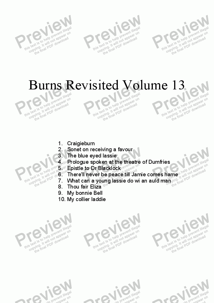 page one of Burns Revisited Volume 13
