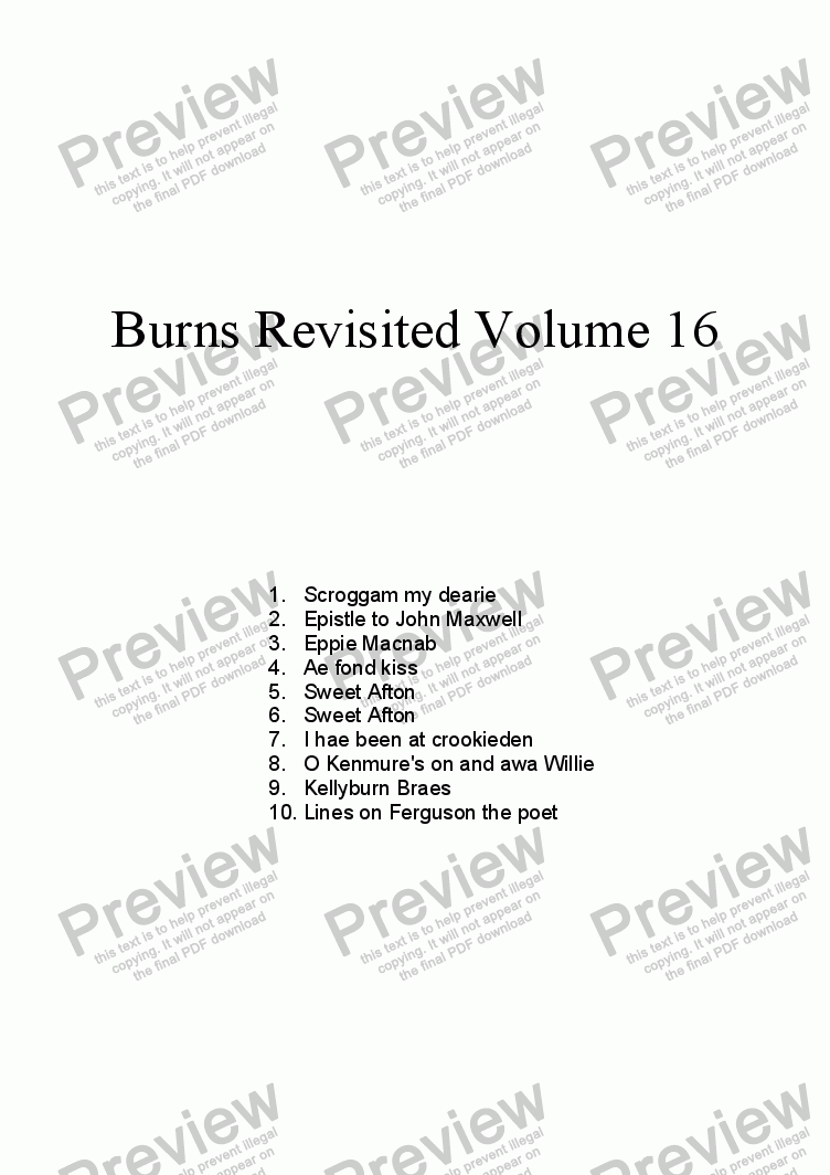 page one of Burns Revisited Volume 16