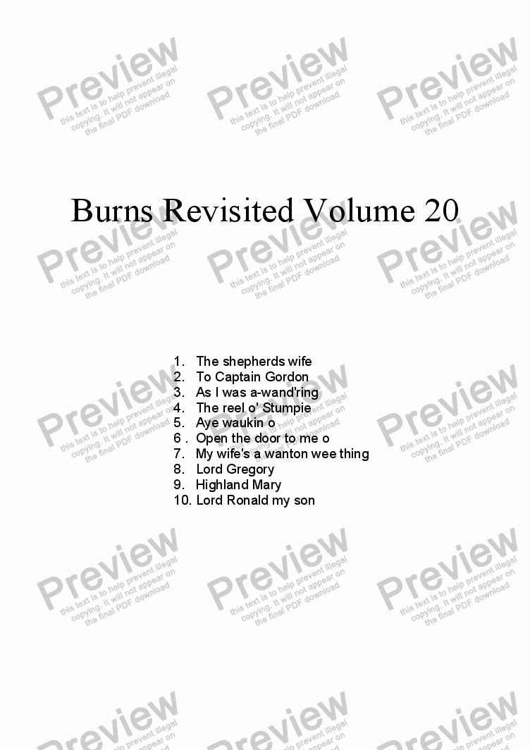 page one of Burns Revisited Volume 20