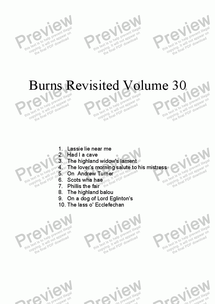 page one of Burns Revisited Volume 30
