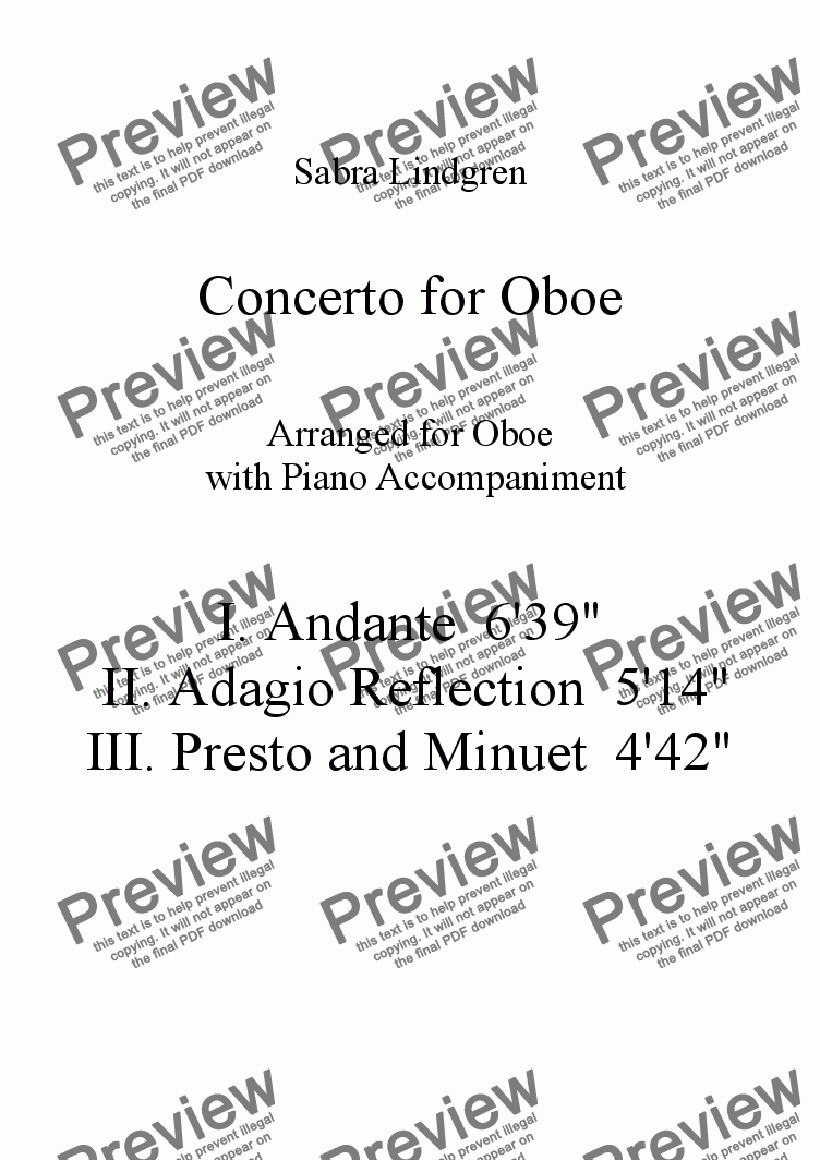 page one of Concerto for Oboe, II. Adagio Reflection, for Solo Oboe with Piano Accompaniment