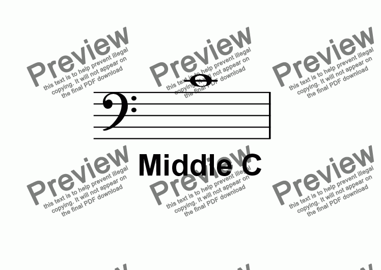 page one of ABC Poster Notes: Bass Clef Middle C