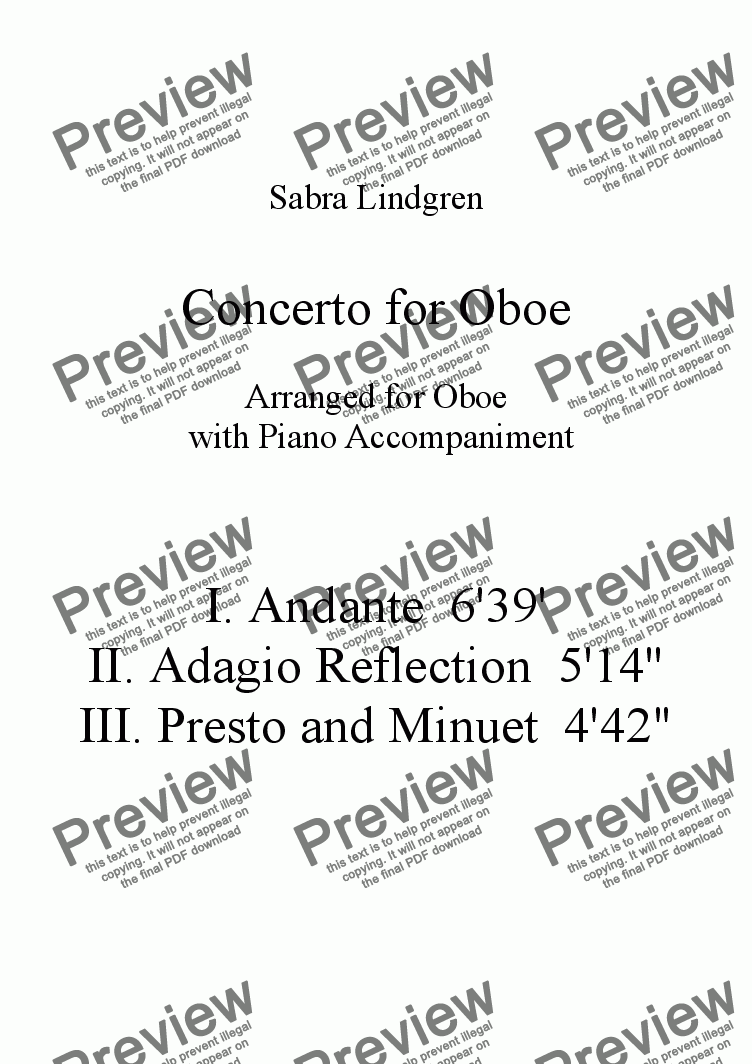 page one of Concerto for Oboe, III. Presto and Minuet, for Solo Oboe with Piano Accompaniment