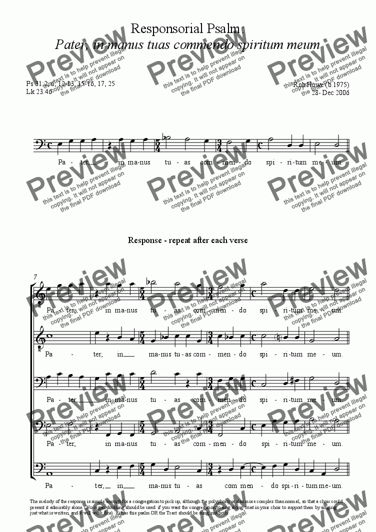 page one of Musica pro Feria VI in Parasceve (Good Friday): Responsorial Psalm