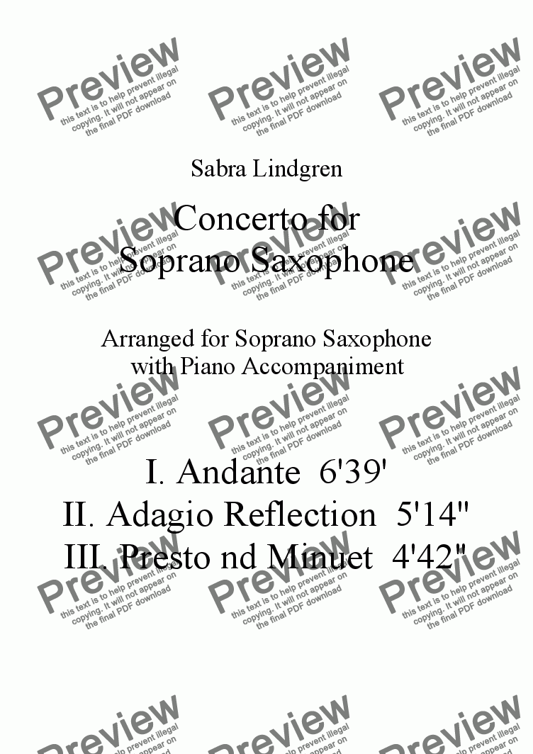 page one of Concerto for Soprano Saxophone, III. Presto and Minuet, for Solo Saxophone with Piano Accompanime