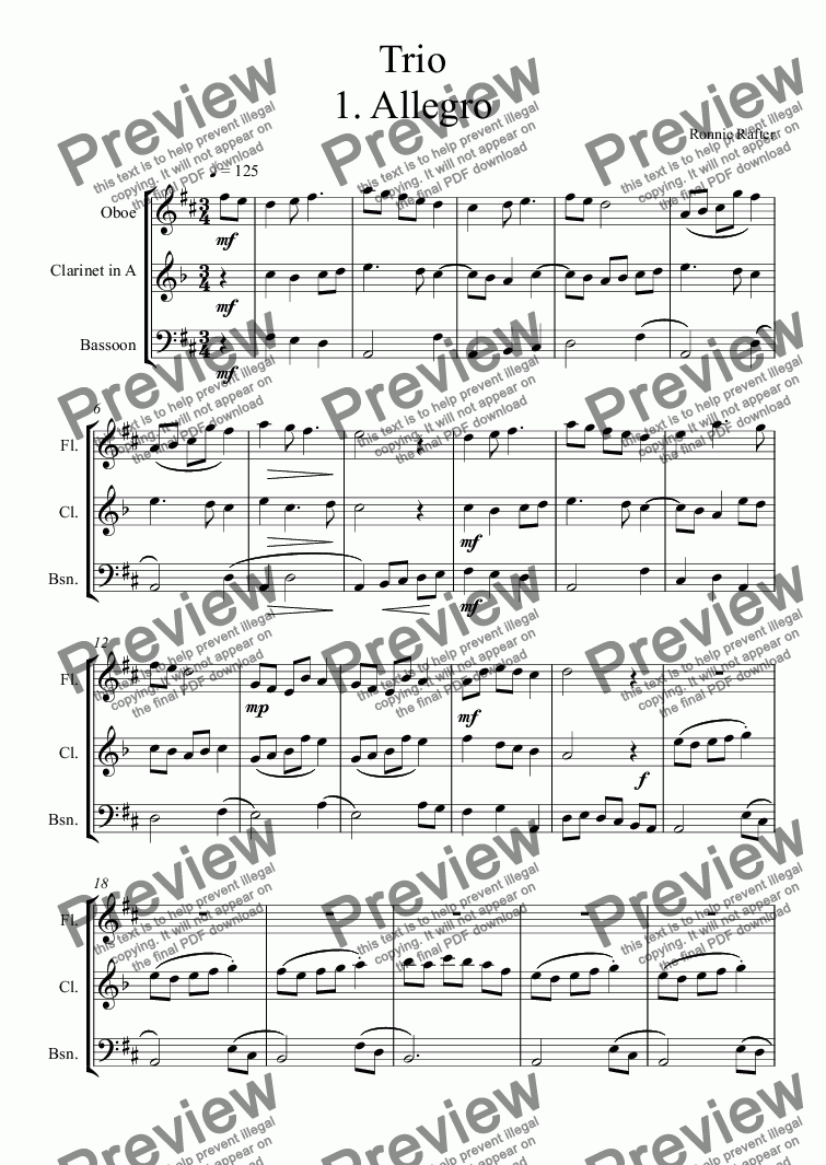 page one of Woodwind Trio 1. Allegro