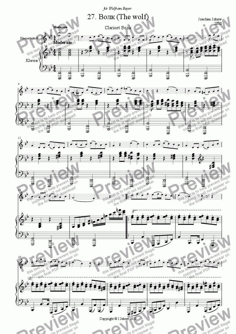 page one of Clarinet Book 27 (The wulf)