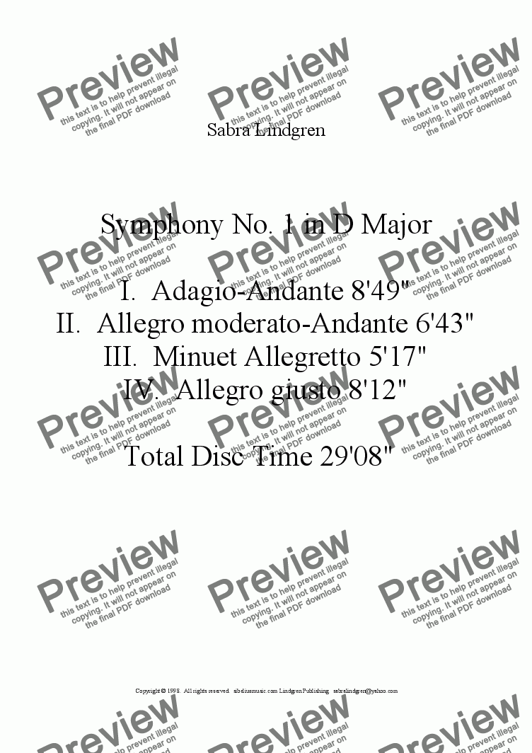 page one of Symphony No. 1 in D Major, II. Allegro moderato-Andante