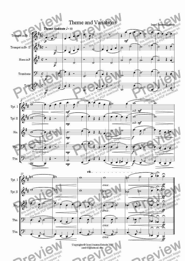 page one of Theme and Variations for Brass Quintet